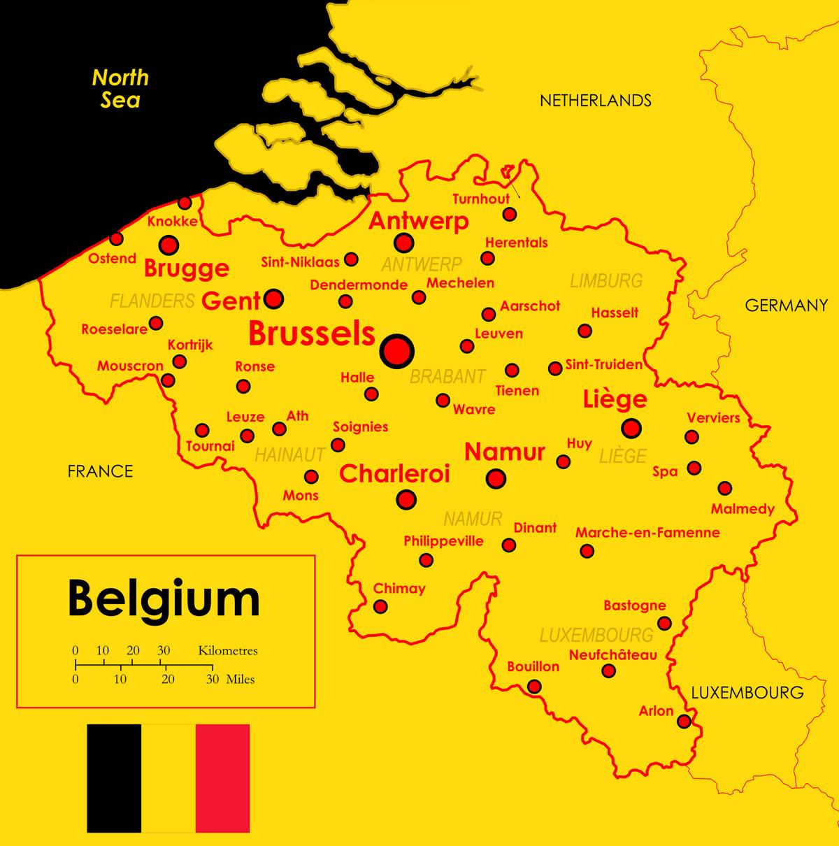 Carte Belgique Villes.Communes Et Provinces A La Carte